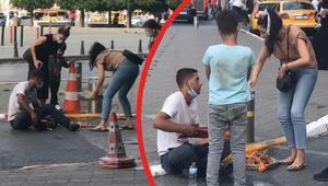 Taksim Meydanında ahlâksız oyun Bayılma numarası yapıp...