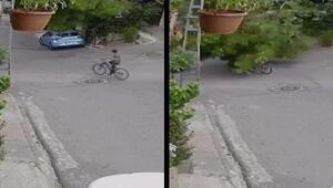 Üsküdarda ağaç bisikletli çocuğun üstüne devrildi O anlar kamerada