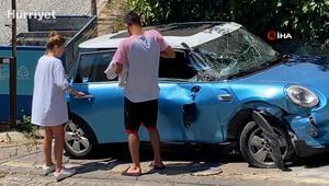 Youtuber Bilge Su Işık'ın otomobiline kepçe çarptı