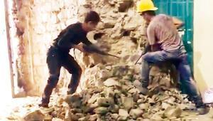 Galata Kulesi'nde tepki çeken görüntü