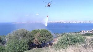Büyükçekmecede otluk alandaki yangına helikopterli müdahale