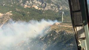İzmirde otluk alanda çıkan yangına müdahale ediliyor