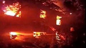 Evdeki yangında felçli koca öldü, eşini köylüler kurtardı
