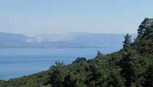 Midilli Adasından yükselen dumanlar, Assos sahilinden görüldü