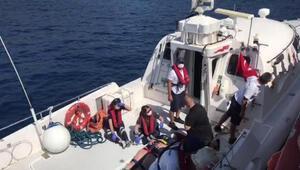 Teknede düşüp yaralanan turist kadına ilk müdahale sahil güvenlikten