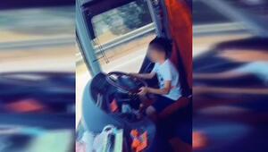 Küçük çocuğun yolcu otobüsünü kullanması pes dedirtti