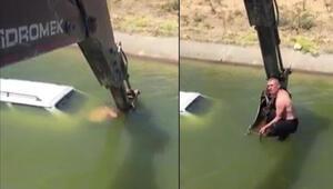 Aracıyla sulama kanalına düştü, yardımına kepçe ile muhtar yetişti