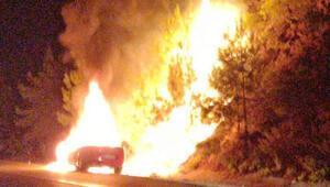 Otomobilde çıkan yangın, ormana da sıçradı
