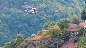Selde mahsur kalan 2si engelli 6 kişi helikopterle kurtarıldı