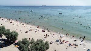 Menekşe Plajında dikkat çeken hafta sonu yoğunluğu