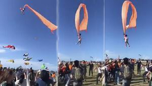 Uçurtma iplerine takılan çocuk 10 metre havalandı