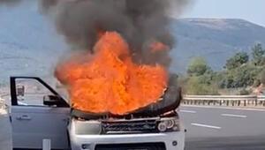 Araç yandı, sürücü son anda kurtuldu