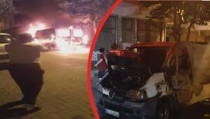 Güngörende park halindeki panelvan minibüs alev alev yandı