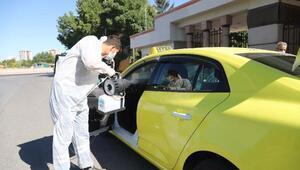 Kayseride ticari taksilerde koronavirüs temizliği