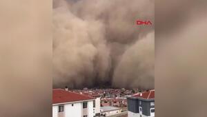 Son dakika haberler... Ankara Polatlıda kum fırtınası böyle görüntülendi