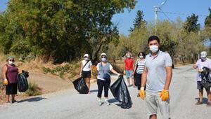 Datçada gönüllüler cadde ve sokakları temizledi