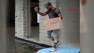 Trabzonda işçilerden inşaat malzemeli defile