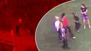Parkta çocuğa hırsızlık yaptıran aile görünümlü çete kamerada