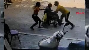 Yokuş aşağı giden tekerlekli sandalyedeki adamı böyle kurtardı