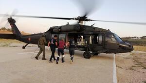 Solunum sıkıntısı olan yeni doğan bebeğe askeri helikopterle sevk
