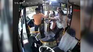 Yanlış park uyarısı yapan otobüs şoförüne darp anı kamerada