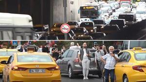 Tarihi kemerde hareketli anlar Trafikte uzun araç kuyrukları oluştu...