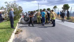 Beylikdüzünde takla atan otomobildeki sürücü yaralandı