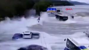 Çinde dev gelgit dalgaları otoyola ulaştı