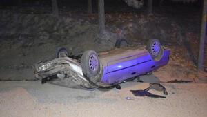 Adıyamanda takla atan otomobilin sürücüsü yaralandı