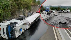 Tanker devrildi, Bolu Dağı ulaşıma kapandı
