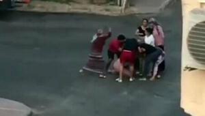 5 kadının sokak kavgası kamerada