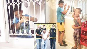 Bunun adı işkence Alacağı için çocukları kaçırıp plastik kelepçeyle pencere demirine bağladı