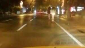 Bağdat Caddesinde scooter ile tehlikeli yolculuk kamerada