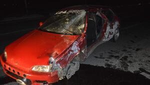 Adıyamanda otomobil devrildi: 2 yaralı