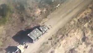 Azerbaycan, kamikaze dronlerının Ermeni güçlere ait askeri araçları böyle imha etti