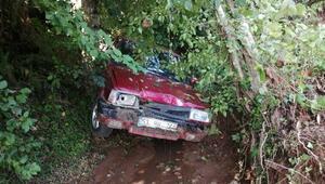 Rizede heyelanda 2 araç hasar gördü