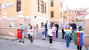 Edirneli öğrencilerden Azerbaycan'a resimli ve şiirli destek