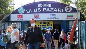 Edirne'de kente gelen Bulgar ziyaretçilere, maske dağıtıldı