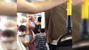 İstanbul'da halk otobüsünde tokatlı ve tükürüklü maske kavgası kamerada