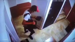 Maskeli ve şapkalı ayakkabı hırsızı güvenlik kamerasına takıldı