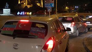 Edirnede Azerbaycana destek için araç konvoyu oluşturuldu