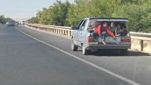 Çocukların bagajda tehlikeli yolculuğu