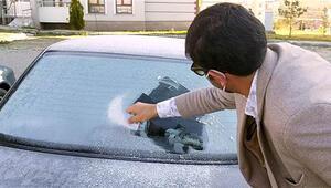 Ardahanda otomobillerin camları buz tuttu