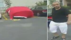 Arabasını doludan korumak için Türk bayrağı ile örten kişi tepki çekti