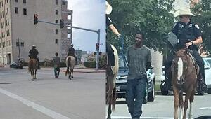 ABDde atlı polislerin kelepçeyle arkalarında yürüttüğü siyahiden 1 milyon dolarlık dava