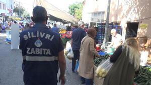 Silivri semt pazarında koronavirüs denetimi