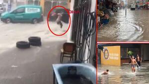Son dakika haberler... İzmirde sağanak hayatı felç etti Sokaklar göle döndü