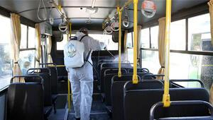Tokat'ta toplu taşıma araçları dezenfekte ediliyor