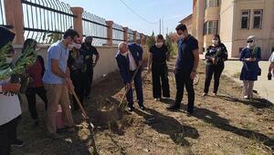 Öğretmen ve öğrenciler okul bahçesine fidan dikti
