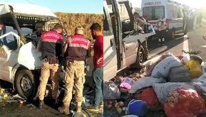 Şanlıurfada tarım işçilerini taşıyan minibüs TIR'la çarpıştı